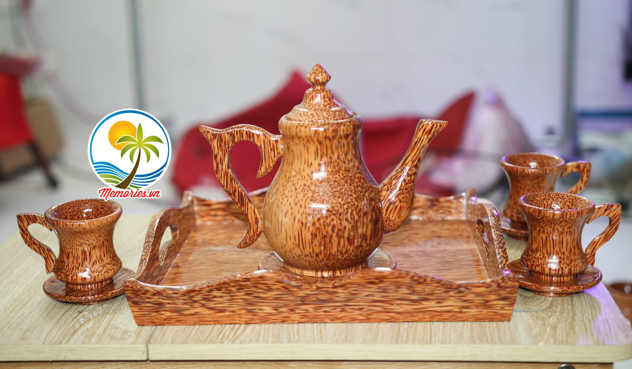 Bộ Bình Trà Cổ Cao Bằng Gỗ Dừa - Gồm ấm trà, đĩa lót, ly tách, khay đựng - Quà tặng handmade, thủ công mỹ nghệ