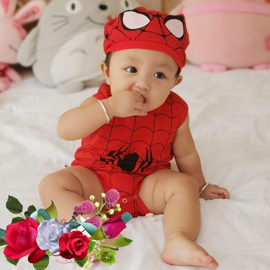 Bộ quần áo thú cưng chíp nón cho bé spiderman, người nhện