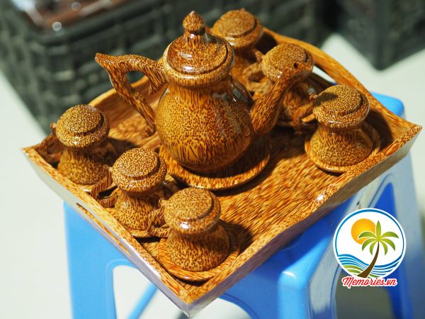 bộ bình trà bằng gỗ dừa