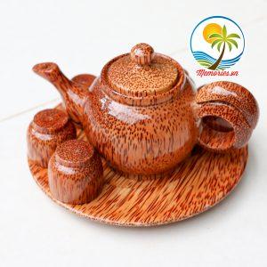 Bộ Bình Trà Bằng Gỗ Dừa Khay Hình Tròn - Quà tặng trang trí handmade - Decor Craft Gifts Shop